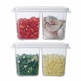 霜山雙格蔥姜蒜收納盒冰箱帶蓋醬料保鮮盒家用廚房迷你水果便當盒
