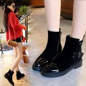 黑色馬丁靴女秋季低跟短靴英倫風冬季百搭機車靴社會女鞋【韓衣舍】