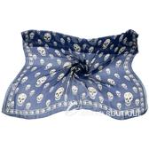 Alexander McQueen Skull 骷髏印花絲質披肩(藍色) 1620568-34