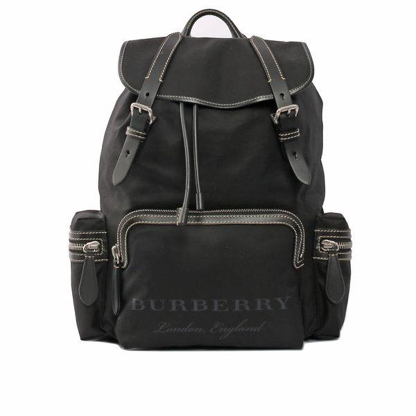 【BURBERRY】The Rucksack棉質帆布軍旅背包(大)(黑) 4068204
