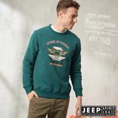 【JEEP】經典吉普車休閒刷毛長袖TEE (綠色)