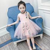 洋裝 女童洋裝韓版兒童背心紗裙公主裙女孩洋氣網紗裙子 綠光森林