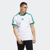 ISNEAKERS adidas CALI 2.0 TEE 男裝 短袖 休閒 慢跑 棉質 舒適 白 綠 EC7376