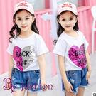女童夏裝上衣 中大童 兒童亮片 可愛 時尚T恤 17126020
