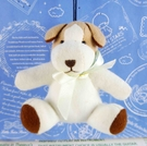 【震撼精品百貨】日本日式精品_狗DOG~絨毛鎖圈-小白狗-淺藍蝴蝶結