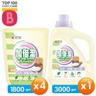 加倍潔 洗衣液體小蘇打皂(防蟎配方) 3000gmX1瓶+1800gm補充包X4包