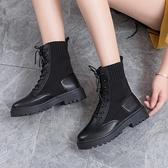 馬丁靴女英倫風夏季透氣薄款飛織春秋單靴百搭潮ins機車短靴靴子
