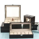 夢蘿皮質手表收納盒地攤展示箱擺攤帶鎖歐式手表禮盒包裝盒手表箱【快速出貨】