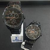 SIGMA 玫瑰金時尚三圈黑鋼情人對錶x40mm(大)&33mm(小)・藍寶石水晶鏡面|名人鐘錶高雄門市