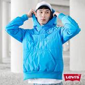 [買1送1]Levis 男款 帽T式鋪棉外套 / 聚脂纖維填充 / 側邊拉鍊 / 藍色微漸層