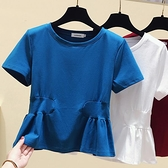 2021夏裝新款大碼女裝顯瘦t恤微胖妹妹減齡收腰遮肉秋裝心機上衣 「雙11狂歡購」