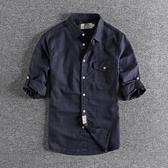 長袖襯衫 日系復古麻料青年透氣襯衣 水洗透氣夏季男士五分袖襯衫