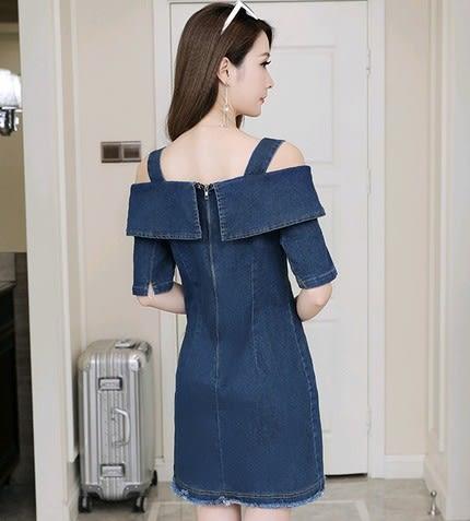EASON SHOP(GU3305)牛仔連身裙吊帶平口洋裝毛邊抽鬚邊流蘇深藍收腰一字領秋裝韓短袖寬鬆顯瘦A字裙