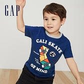 Gap男幼童 童趣風格印花圓領短袖T恤 442470-藍灰色