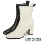 U21-20514 女款羊皮短靴 線條車縫立體金屬羊皮粗高跟尖頭短靴/馬靴【GREEN PHOENIX】