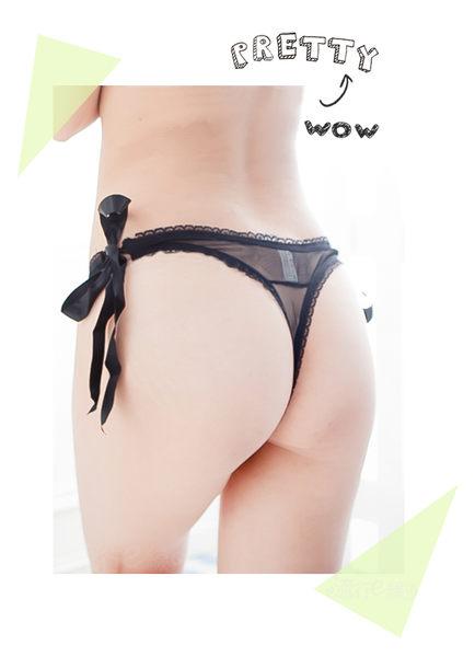 性感丁字褲~半透膚薄紗綁帶情趣內褲性感丁字褲黑*流行E線B2552