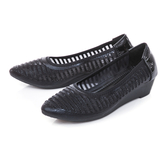 TAS異材質拼接透膚水鑽楔型娃娃鞋-閃耀黑