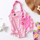 女童泳衣  女童泳衣公主兒童連身游泳衣立體火烈鳥泳裝嬰幼兒寶寶泳衣   小時生活館