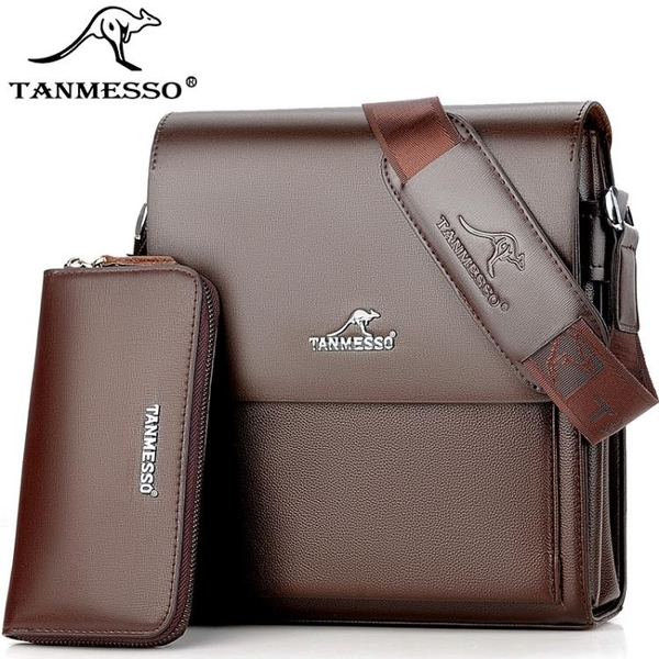 後背包 側背包 木格袋鼠雙層設計男包側背包斜背包商務皮包男士包包休閒背包小包 小宅女