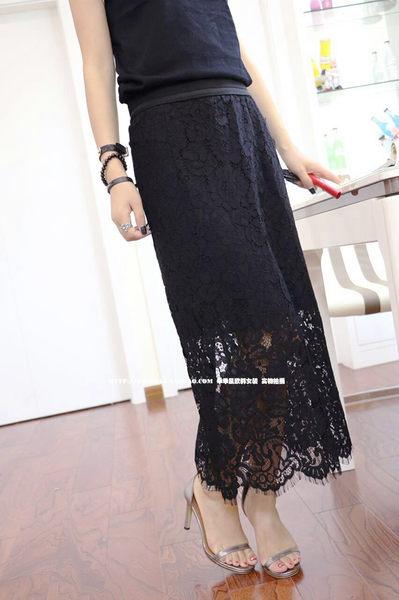 半身裙夏季韓版休閒百搭開叉中顯修身自然中長款蕾絲半身裙女