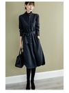 長袖針織洋裝 簡約大氣立領襯衫連身裙女裝新款系帶收腰氣質裙子潮S108-B1皇朝天下