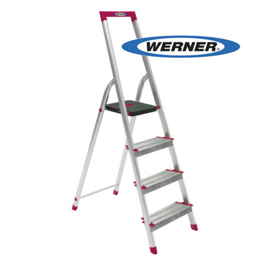美國Werner穩耐安全梯-L234R-5 鋁合金寬踏板4階梯   大平台 鋁梯 A字梯 梯子