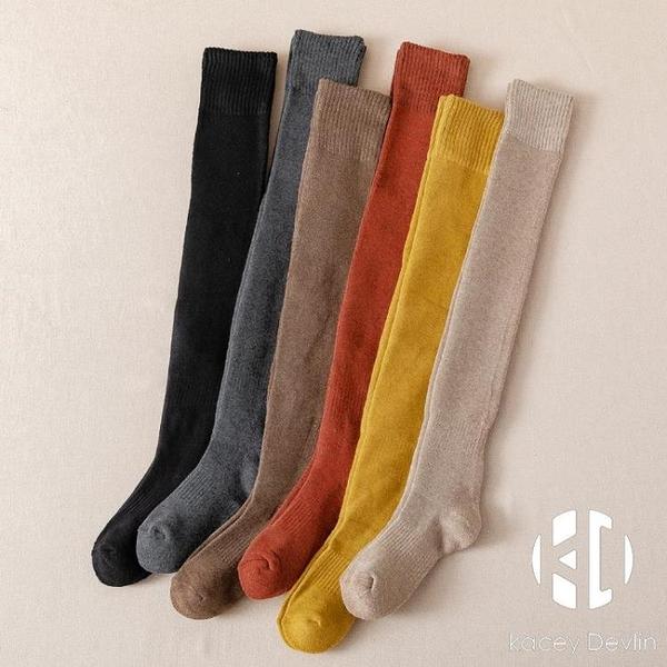 襪子女秋冬季款純棉加厚加絨保暖長筒襪過膝襪小腿長襪冬天全棉襪【Kacey Devlin】