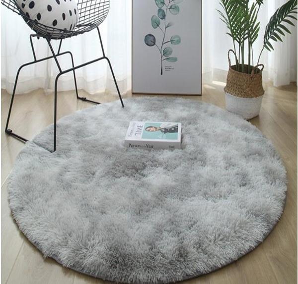圓形地毯臥室客廳床邊北歐ins風長毛家用輕奢兒童電腦椅吊籃地墊 3C優購