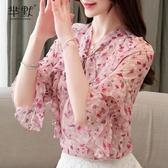 2020夏裝新款韓版甜美碎花荷葉邊雪紡衫女短袖大碼襯衫上衣 居享優品