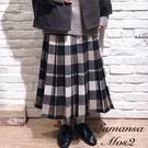 「Winter」定番配色打摺格紋長裙-附襯裙 (提醒 SM2僅單一尺寸) - Sm2