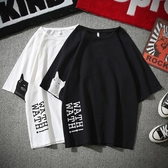 夏季日系亞麻短袖t恤男韓版潮流加大碼五分袖棉麻寬鬆七分袖上衣