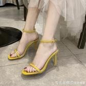 水晶跟高跟涼鞋女夏季2019新款韓版網紅性感方頭鞋一字式扣帶細跟 漾美眉韓衣
