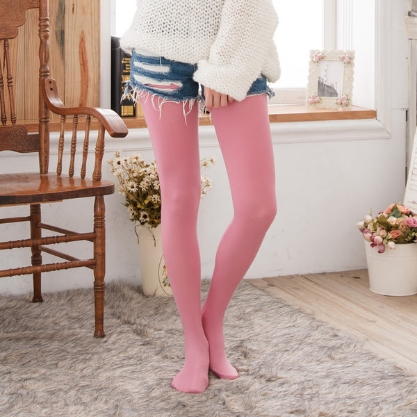 120D高級天鵝絨純色褲襪(淺紅色)