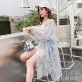夏季新款韓版花朵披肩雪紡開衫中長款寬鬆百搭薄外套沙灘防曬衣女大宅女韓國館