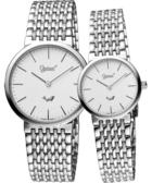 Ogival 愛其華 薄型簡約風格對錶/情侶手錶-白/銀 385-021M+385-021L