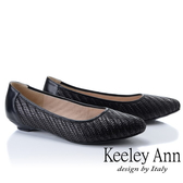 ★2019春夏★Keeley Ann慵懶盛夏 新鮮人必備真皮編織低跟包鞋(黑色)