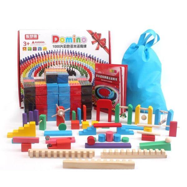 多米諾骨牌兒童成人標準比賽500 1000片木制 機關益智力積木玩具【快速出貨】