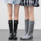 韓國時尚雨靴外穿網紅雨鞋 防水防雨高筒防滑耐磨水鞋成人女‧防水