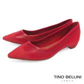 Tino Bellini 巴西進口沖孔拼接尖頭平底鞋_ 紅 B83234 歐洲進口款