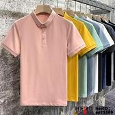男短袖冰絲棉粉色polo夏季男士修身薄款上衣潮流翻領衫半袖T恤超級品牌【邦邦】