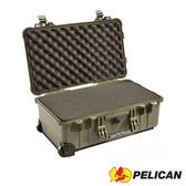 美國 PELICAN 派力肯 塘鵝 1510 輪座拉桿氣密箱 含泡棉 綠色 公司貨