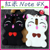 Xiaomi 紅米Note 4X 5.5吋 立體蝴蝶結貓咪手機套 TPU保護套 全包邊手機殼 可愛小貓保護殼 喵星人背蓋