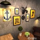 工業風復古酒吧墻面裝飾品齒輪壁掛件木板畫咖啡館壁飾墻掛飾鹿頭 【618特惠】