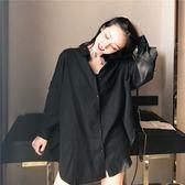 襯衫女長袖春裝新款韓版V領上衣寬鬆顯瘦純色長袖襯衫送腰帶 小時光生活館
