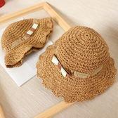兒童漁夫帽女童草帽子夏薄款透氣遮陽涼帽女寶寶公主甜美防曬沙灘 森活雜貨