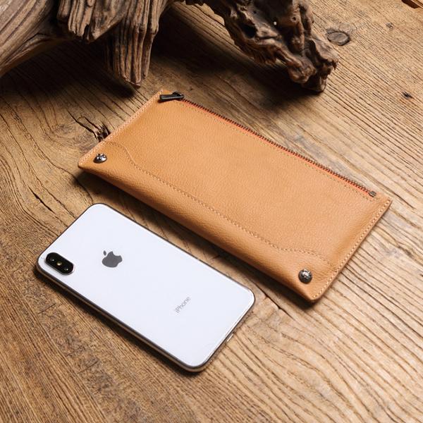 【Solomon 原創設計皮件】拉鍊真皮長夾 森林色系 鉚釘多卡夾錢包