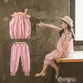 女童夏裝中大童洋氣時髦套裝燈籠褲漏肩上衣兩件套裝衣 港仔會所