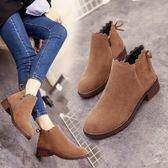現貨出清韓版英倫及踝靴百搭平底圓頭短靴女鞋馬丁粗跟踝靴「優購時尚」