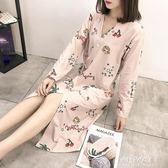 和服睡衣和服睡衣女冬秋季長袖睡裙浴衣日式繫帶睡袍女春秋性感中長款浴袍  朵拉朵衣櫥
