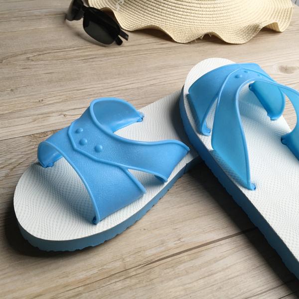 台灣製造-橡膠H拖(藍白拖鞋) -水藍